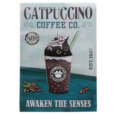 "Contemporary Giclée ""Catpuccino,"" 21st Century"