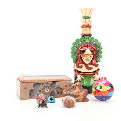 Mexico Teotihuacan Decanter, Earthenware Box, Ornament and Figurines