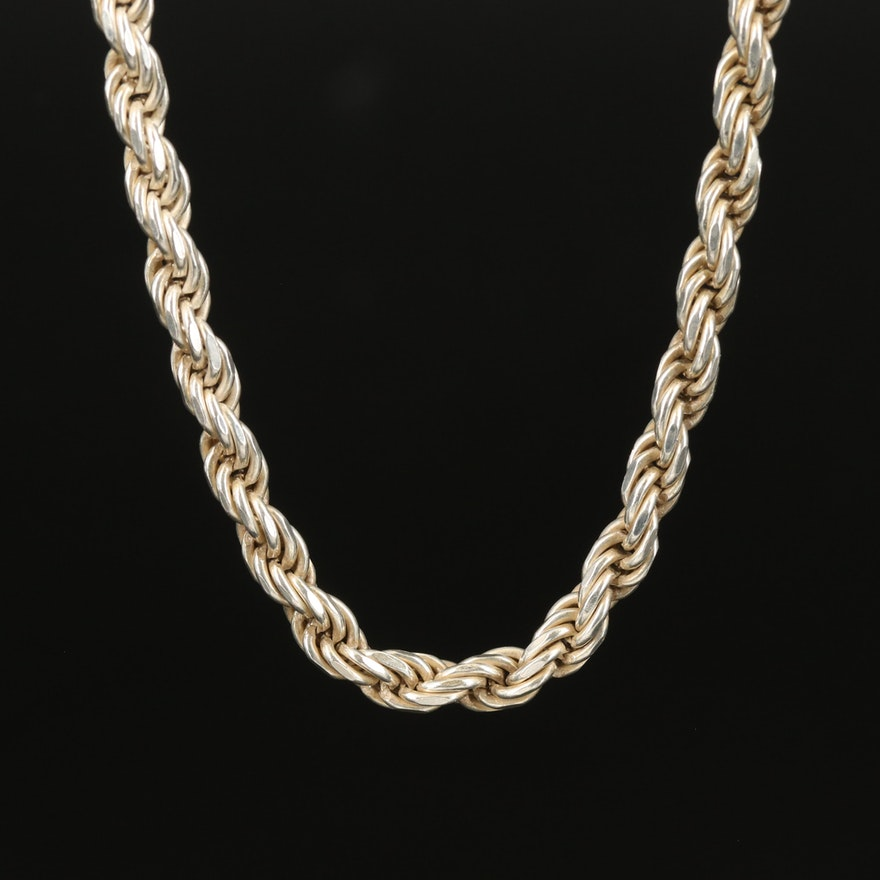 Italian Sterling Rope Chain Necklace