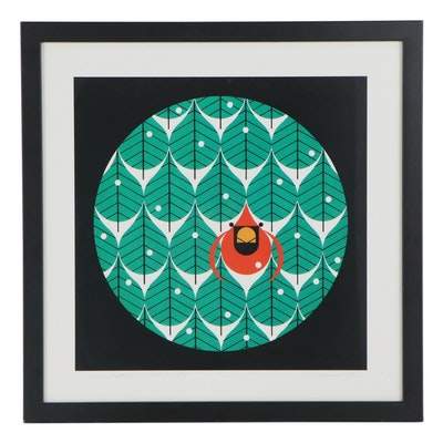 """Offset Lithograph After Charley Harper """"Coniferous Cardinal"""""""