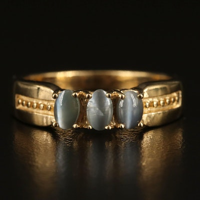 Sterling Cat's Eye Chrysoberyl Three Stone Ring with Granulation Detail