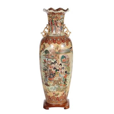 Japanese Satsuma Style Ceramic Floor Vase on Stand