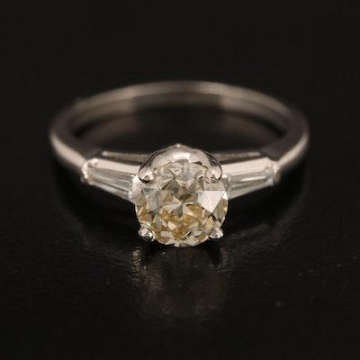 Vintage Platinum 1.32 CTW Diamond Ring with GIA Report