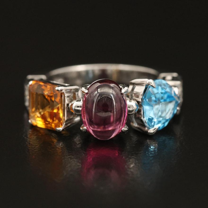 "BVLGARI ""Allegra"" Swiss Blue Topaz, Garnet and Citrine Ring with Diamond Accents"