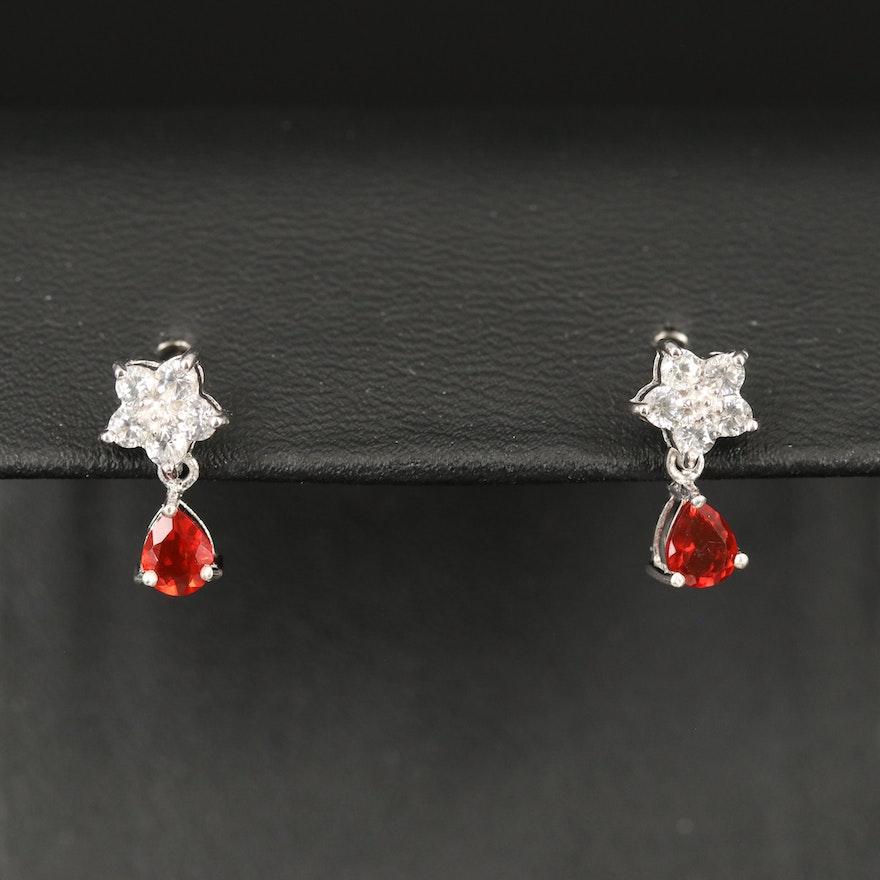Sterling Fire Opal and Zircon Drop Earrings