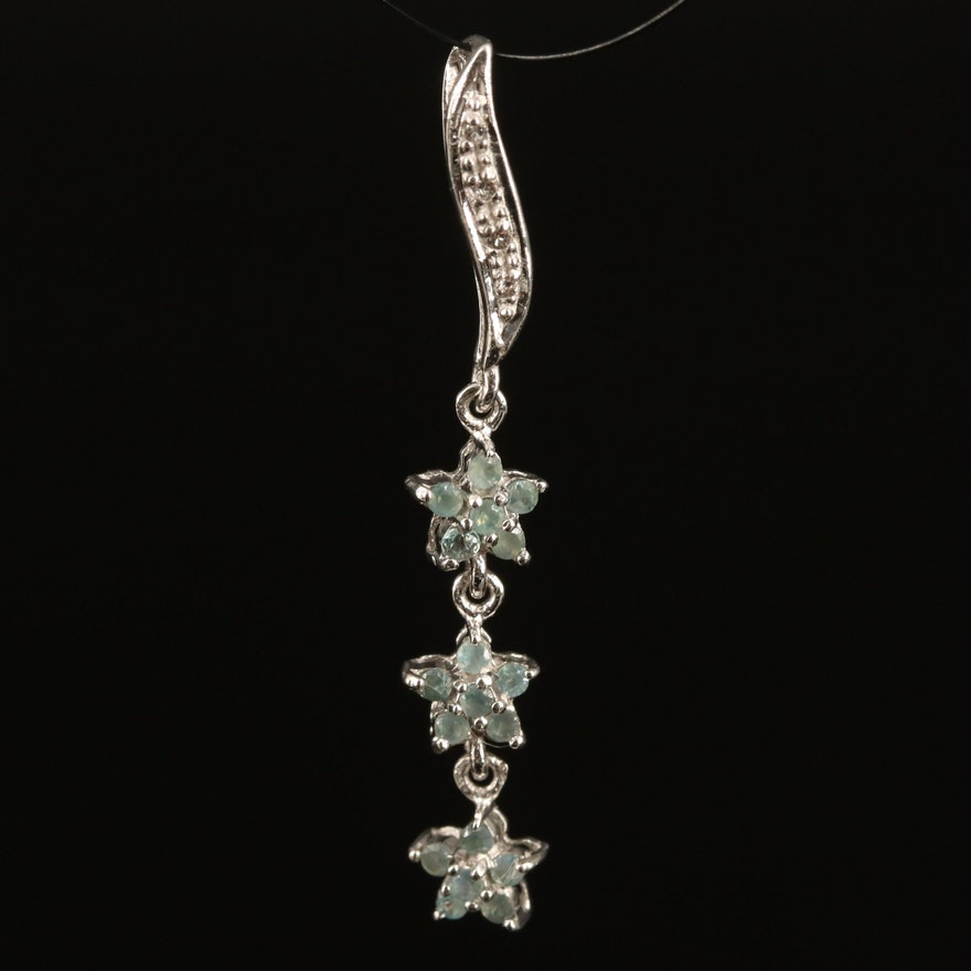 Sterling Alexandrite and Topaz Triple Star Pendant