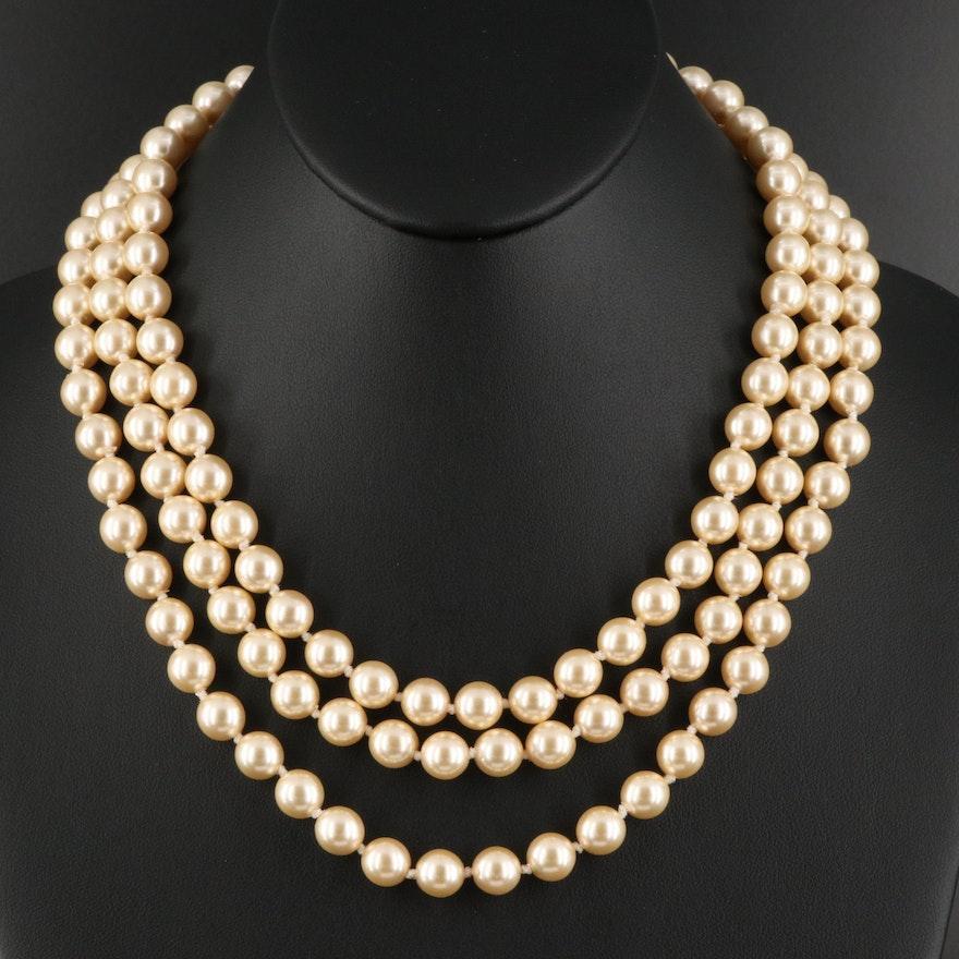 "Franklin Mint ""Jackie"" Triple Strand Faux Pearl Necklace"