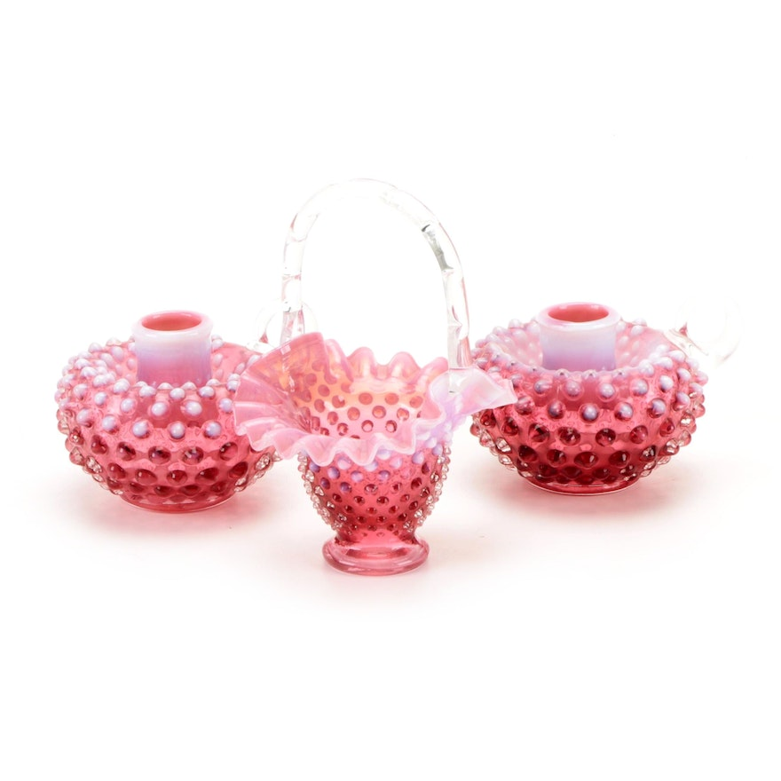 Fenton Opalescent Hobnail Cranberry Glass Candle Holders and Basket