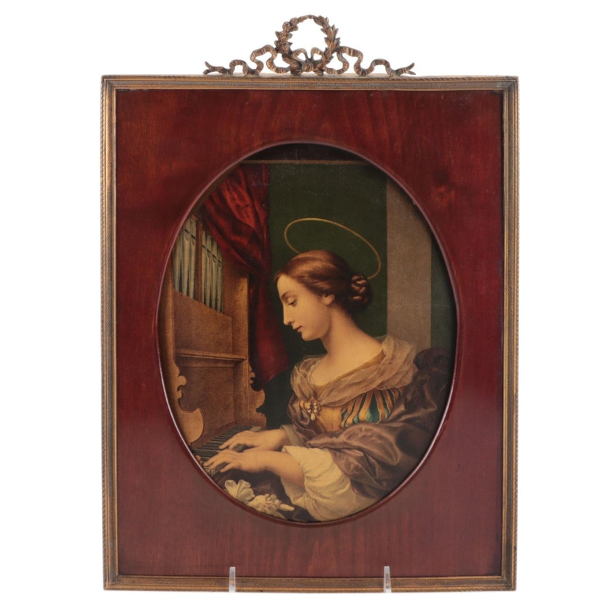 """Chromolithograph After Carlo Dolci """"St. Cecilia at the Organ"""""""