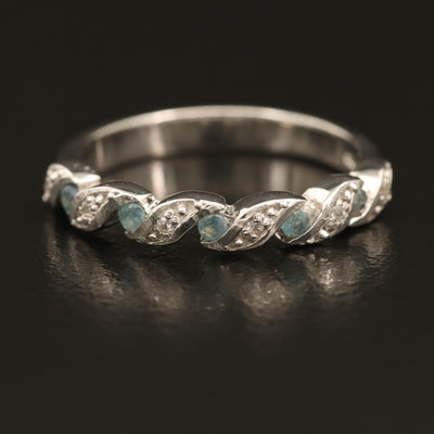 Sterling Alexandrite and Zircon Illusion Braided Ring