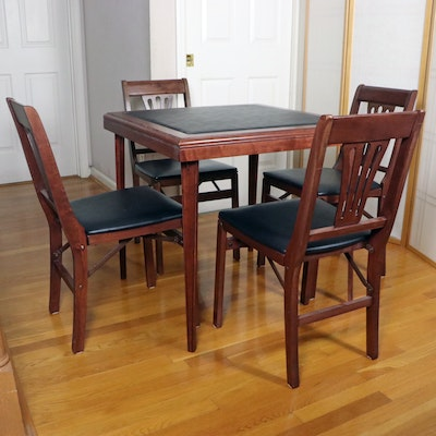 Stakmore Wood and Black Vinyl Folding Card Table and Chairs