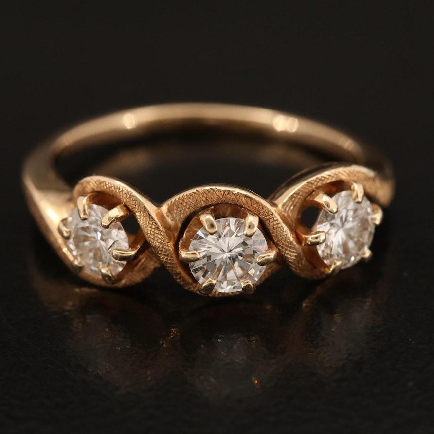 14K Diamond Three Stone Ring with Florentine Finish