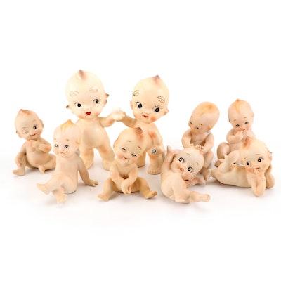 Japanese Kewpie Style Ceramic and Porcelain Figurines, Mid-20th Century