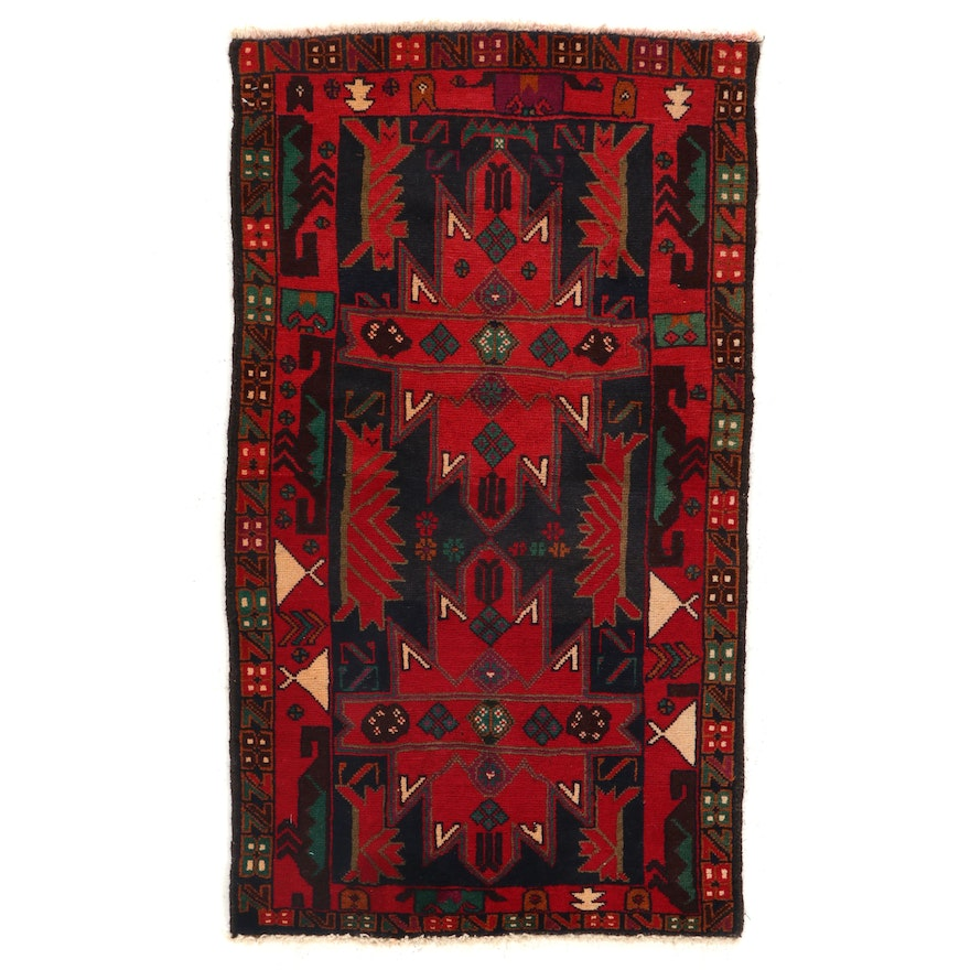 2'9 x 4'11 Hand-Knotted Afghan Baluch Accent Rug
