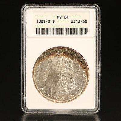 ANACS Graded MS64 1881-S Morgan Silver Dollar