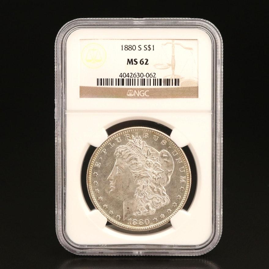NGC Graded MS62 1880-S Morgan Silver Dollar