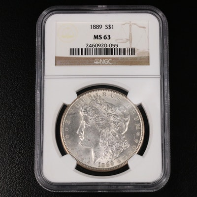 NGC Graded MS63 1889 Morgan Silver Dollar