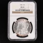 NGC Graded MS63 1880 Morgan Silver Dollar