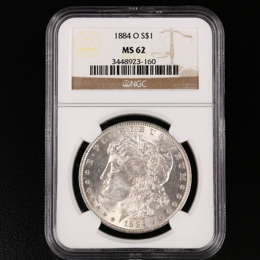 NGC Graded MS62 1884-O Morgan Silver Dollar