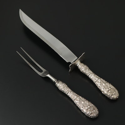 """Kirk Stieff """"Repoussé"""" Sterling Silver Handled Carving Set"""