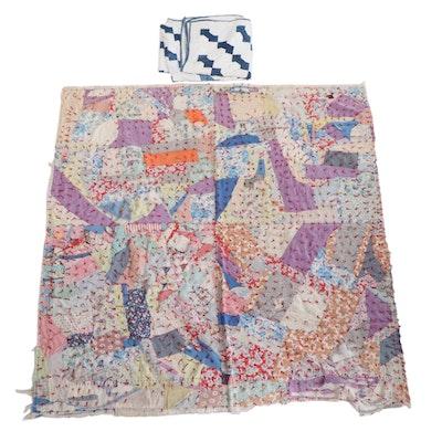 "Handmade Patchwork Tied Crazy Quilt with ""Necktie"" Pieced Quilt"