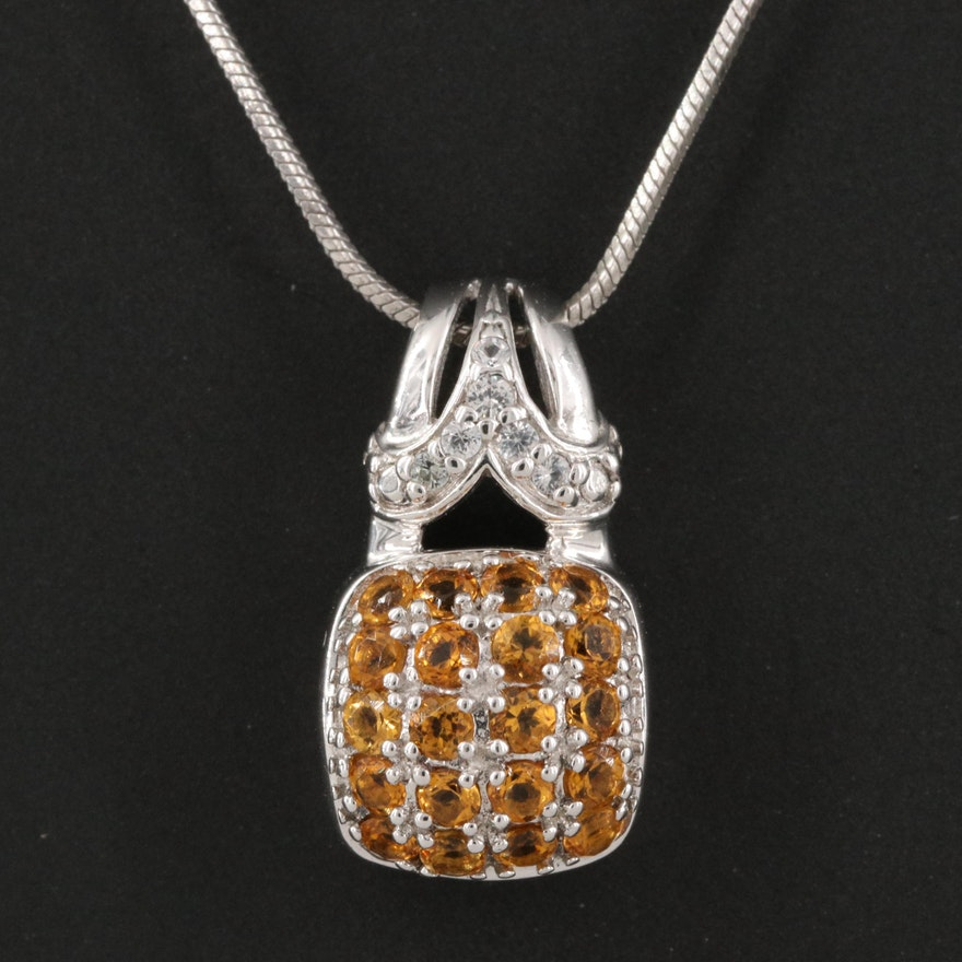 Sterling Citrine and White Topaz Pendant Necklace
