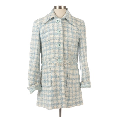 Sharagano Wool Blend Tweed Button Front Jacket