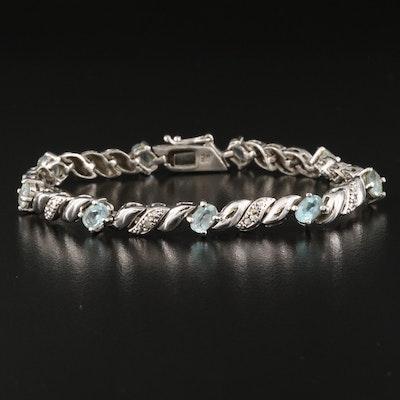 Sterling Silver Sky Blue Topaz and Diamond 'S' Link Bracelet