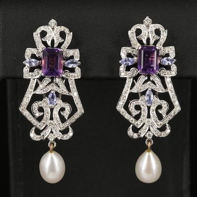 18K Amethyst, Topaz, Heliodor, Tanzanite, Pearl and 1.90 CTW Diamond Earrings