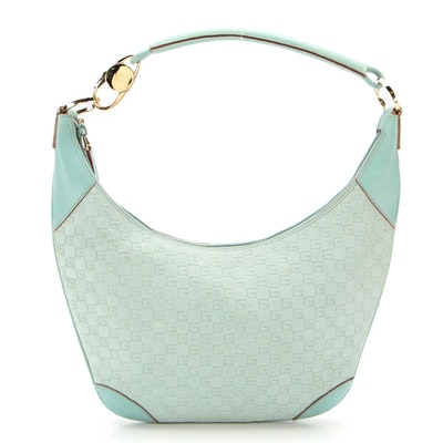 Gucci Hobo Bag in G Embossed Suede with Leather Trim