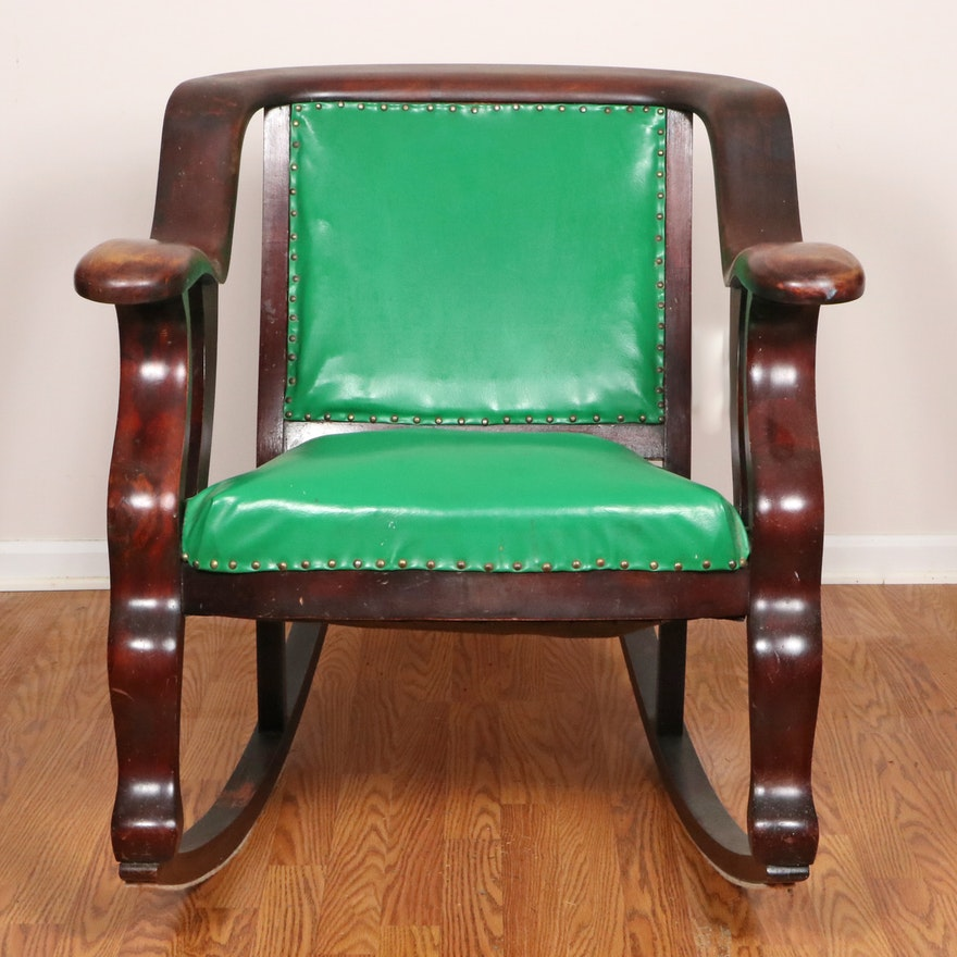 Empire Revival Oak Rocking Chair, Early 20th Century