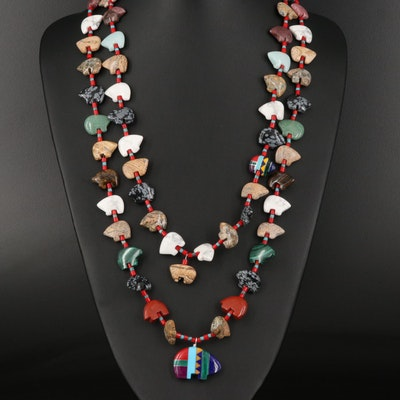 Southwestern Style Double Strand Gemstone Fetish Bear Necklace