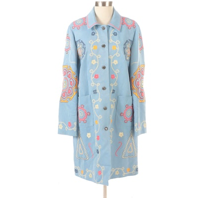 J.McLaughlin Button-Front Jacket with Embroidery Details