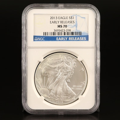 """NGC Graded MS70 """"Early Releases"""" 2013 $1 American Silver Eagle Bullion Coin"""