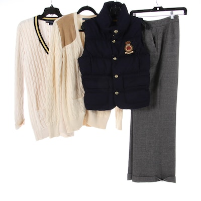 Ralph Lauren Rugby Puffer Vest with Sweaters and Wool Pants