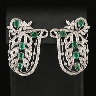 18K Emerald and 3.75 CTW Diamond Earrings