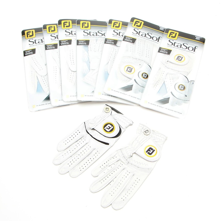 StaSof Right Hand Golf Gloves in White Leather