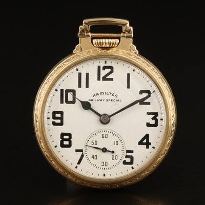 1950 Hamilton Railway Special 10K Gold Filled Pocket Watch