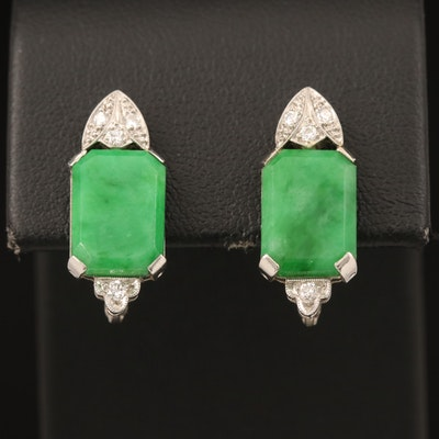 1940s Platinum Jadeite and Diamond Button Earrings