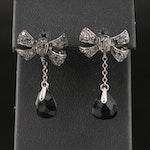 Pomellato 18K Diamond Bow and Black Onyx Drop Earrings