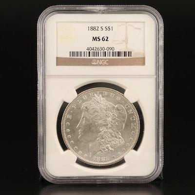 NGC Graded MS62 1882-S Morgan Silver Dollar