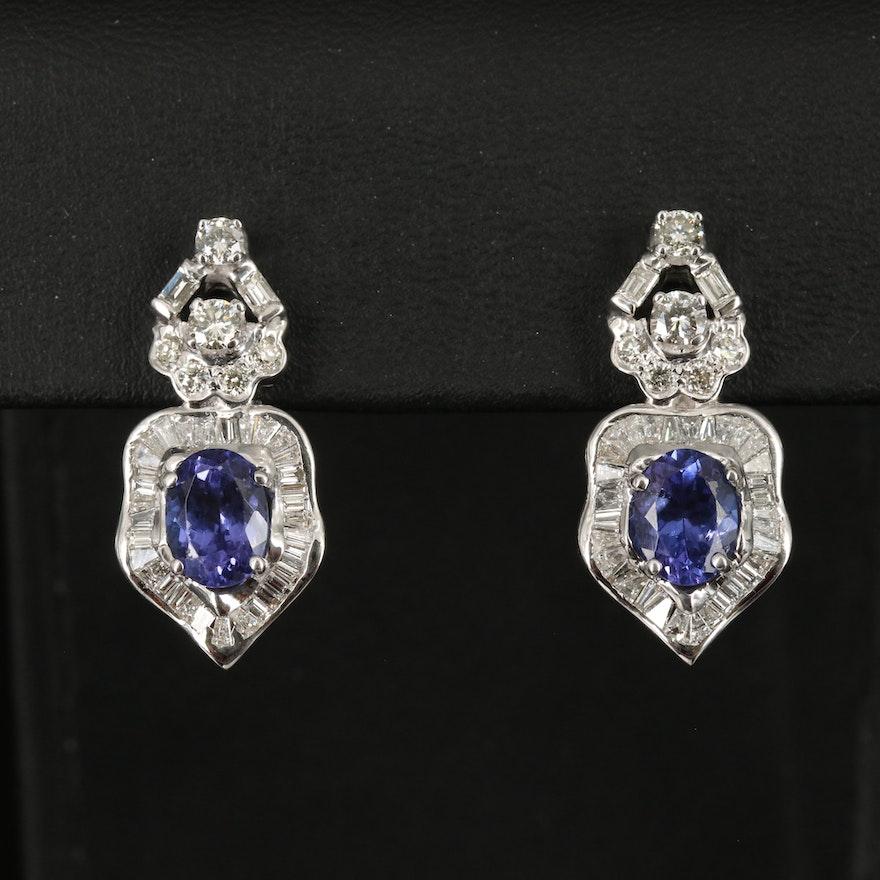 18K Tanzanite and 1.90 CTW Diamond Earrings