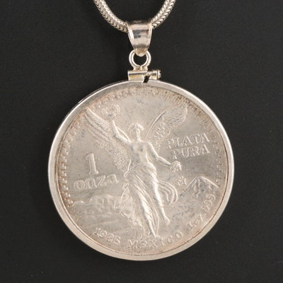 Sterling Necklace with 1985 Mexican One Ounce Silver Libertad Coin