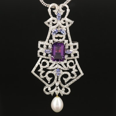 18K Amethyst, Heliodor, Topaz, Tanzanite, Pearl, and 3.56 CTW Diamond Necklace