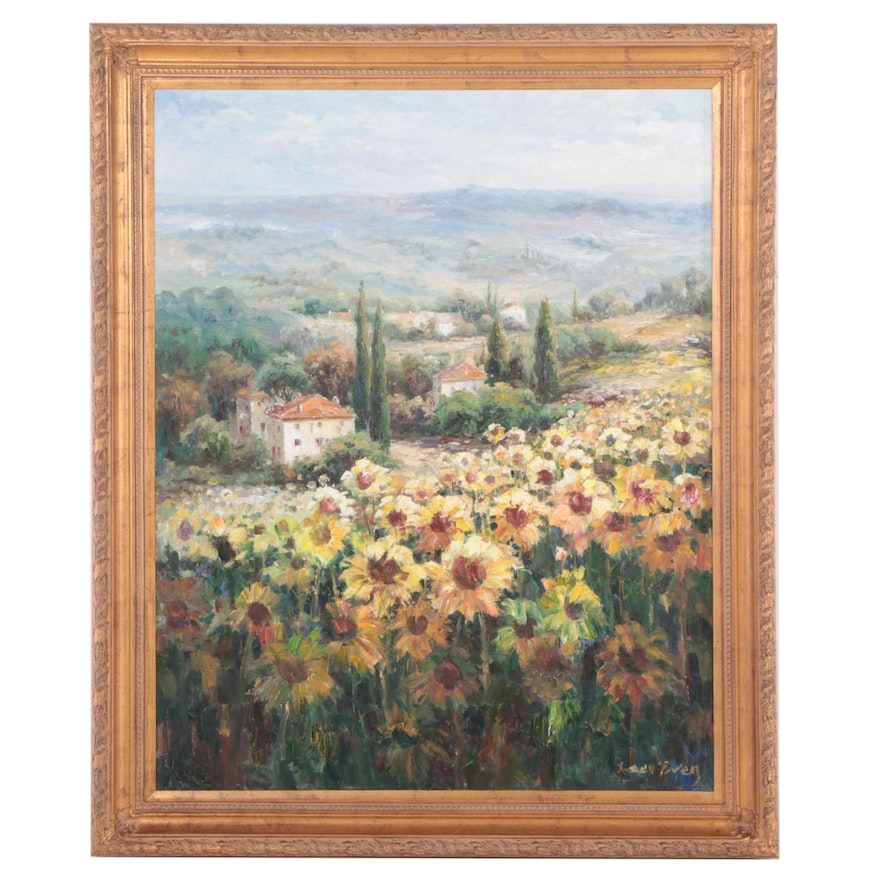 Large-Scale Tuscan Landscape Oil Painting, 21st Century
