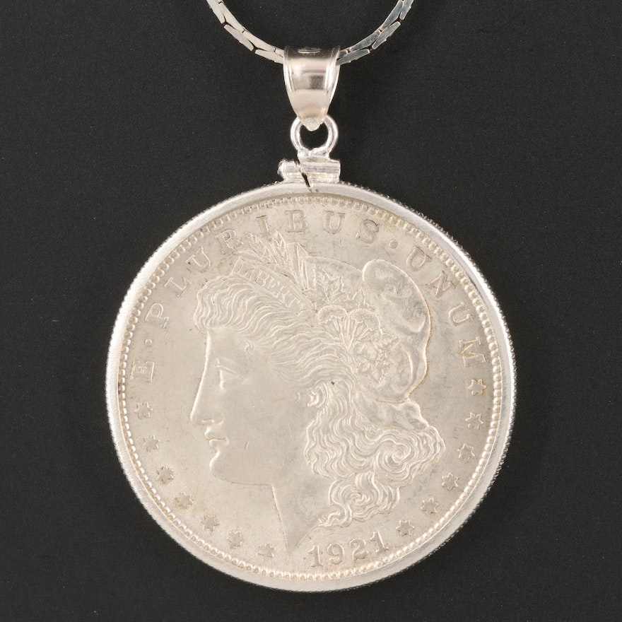 Italian Sterling Cobra Chain Necklace with 1921 Morgan Silver Dollar Coin