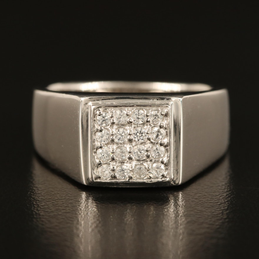 Sterling White Zircon Ring with High Polish Finish