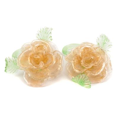 Pair of Handblown Glass Rose Figurines