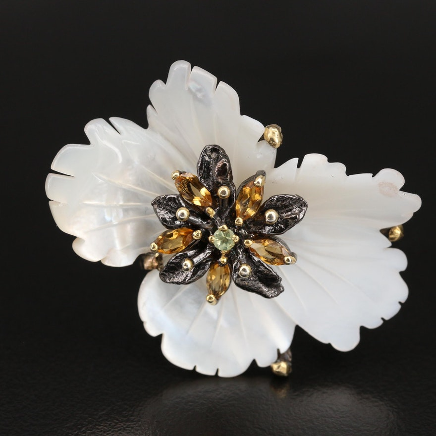 Sterling Flower Ring with Mother of Pearl, Citrine and Peridot