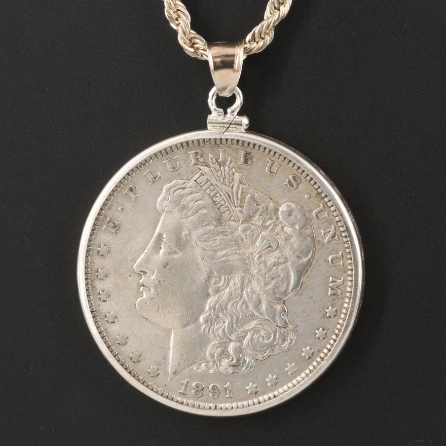 Sterling Necklace with 1891 Morgan Silver Dollar Coin